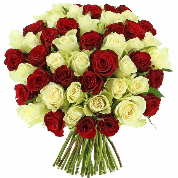 bouquet-roses-white red PRESTIGE