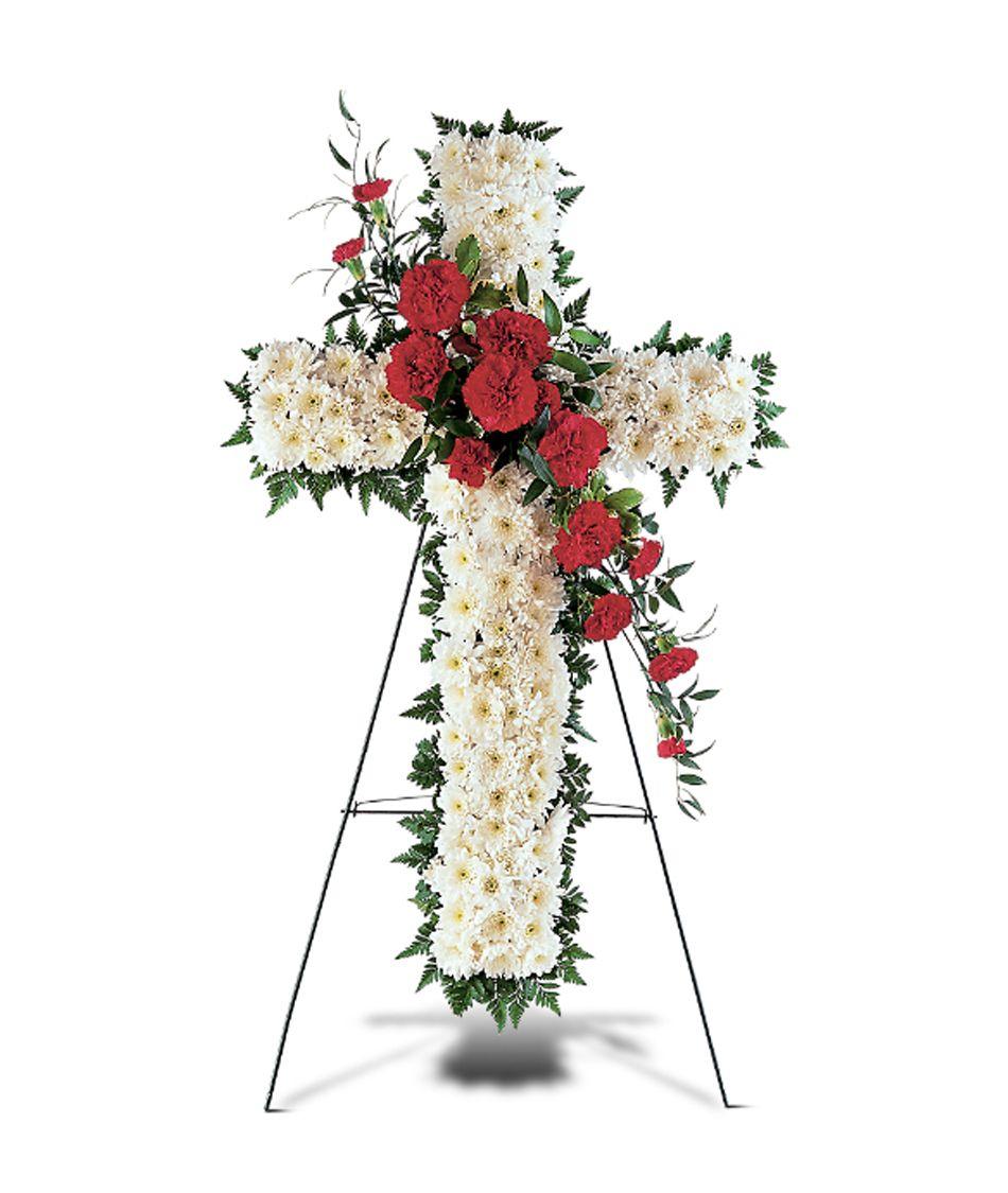 1 funeral cross flowers
