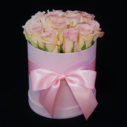 a dozen pink roses in the box