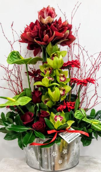 arrangement zink amaryllis anthurium gerbera red green