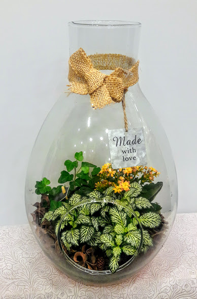 plants arrangement in vase glass big size green 1