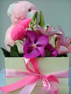 pink flowers in the box