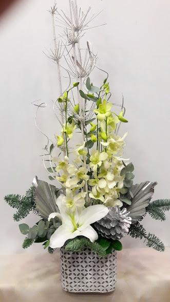 christmas arrangement linear white stone pot