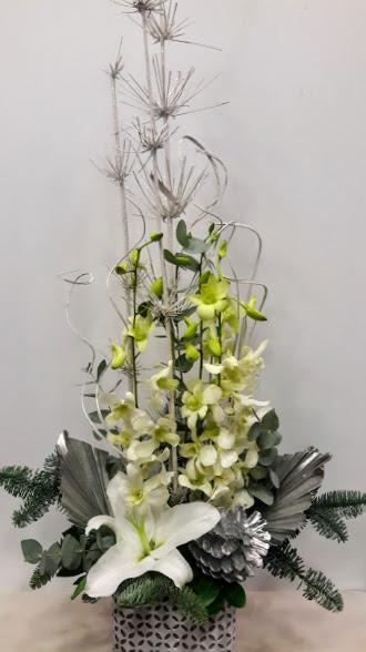 christmas arrangement linear white stone pot 1c