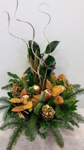 christmas arrangement round ceramic pot gold (Mobile) (2)