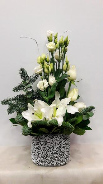 christmas arrangement white stone pot