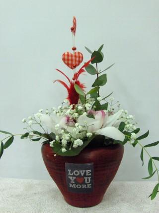 love arrangemement ceramic pot heart white orchids
