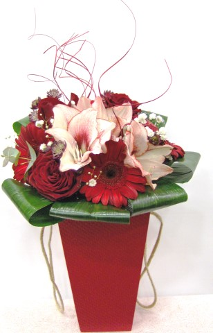 red flowers in the box