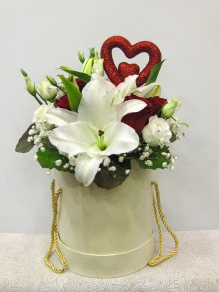 white red heart flowers in a box