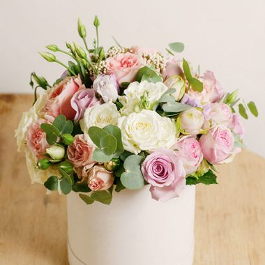 fresh pink white flowers in a box