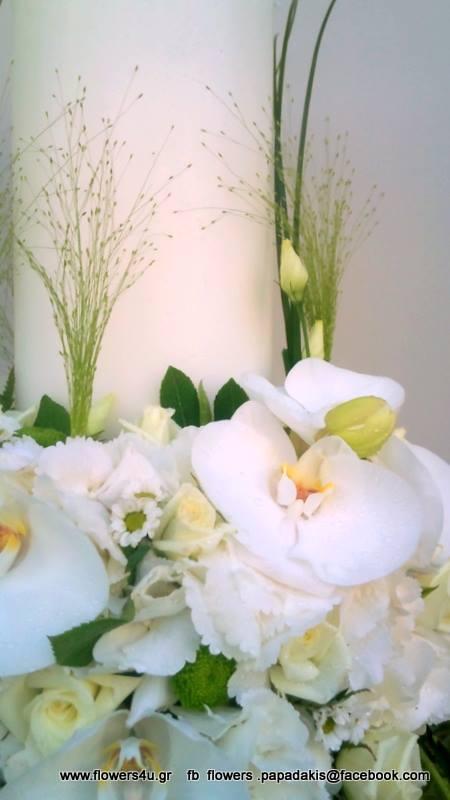 λαμπάδα γάμου με ορχιδέες κ ορτανσια