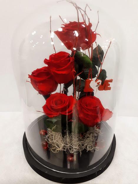 forever roses 5 red roses in glass