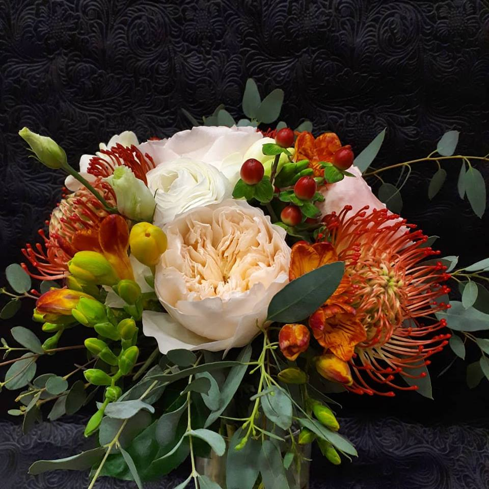 bridal bouquet with Juliet and Protea