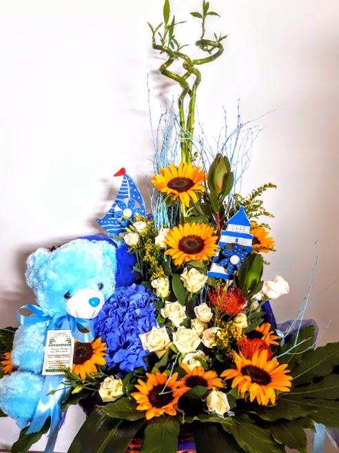 new born boy basket with sunflowers