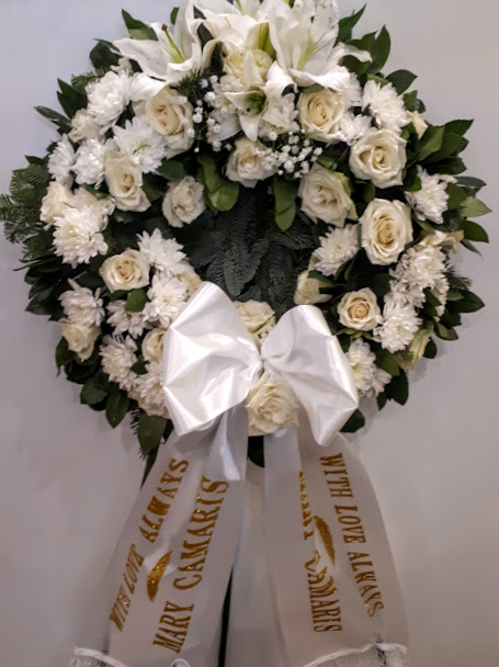 Funeral Wreath with White roses and ribbon