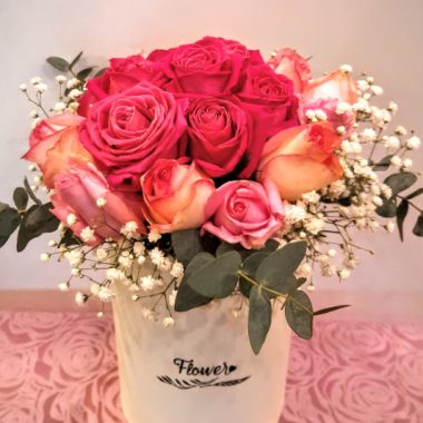 mixed roses in a box